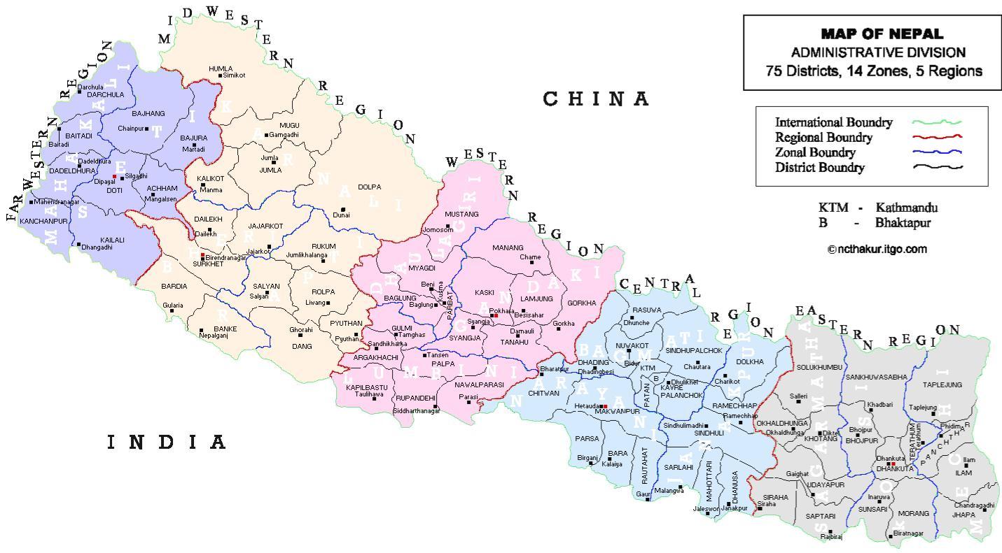 の政治地図がネパールネパールの...